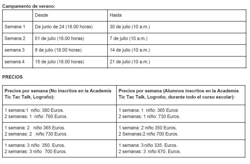 precios - fechas 2018